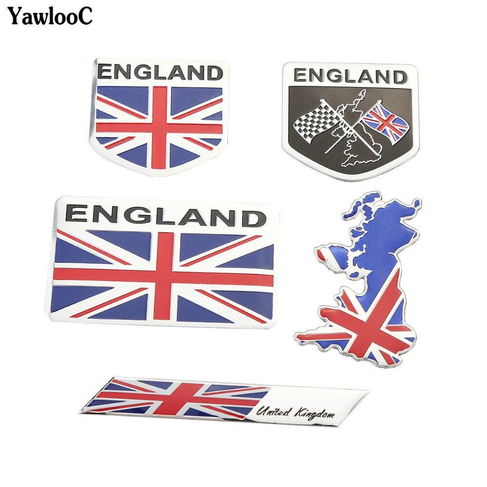 UK England English Flag Colors Car Metal Aluminum 3D Chrome Emblem Decal Sticker