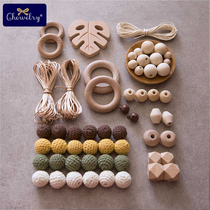1set Baby Wooden Teether Beech Pacifier Chain Pendant Crochet Bead DIY Nursing Bracelets Wooden Ring BPA Free Baby Teething Toys