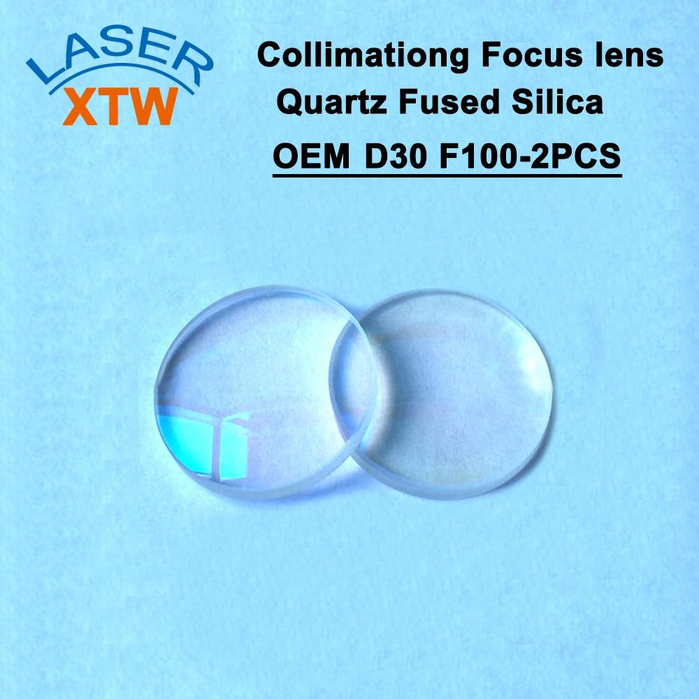 Sphérique De Collimation YAG Focale D30 F100 2 pièces Precitec OEM Quartz Silice Fondue pour la Machine De Laser De Fiber