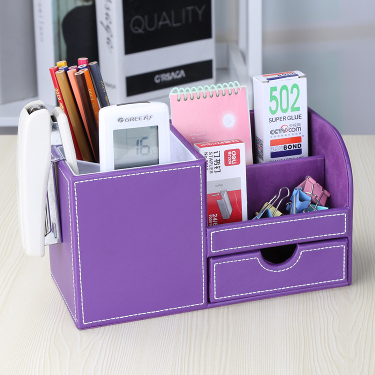 2018 School Office Desktop Fashion Pu Pen, Multifunctional Desktop Leather Stationery, Primary School Storage Box Office Supplie 2018 school office desktop fashion pu pen multifunctional desktop leather stationery primary school storage box office supplie