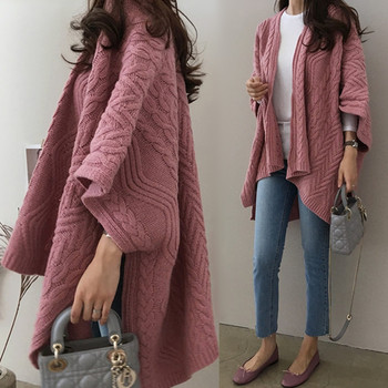Cardigan Irregular Batwing Tops Knitted Poncho Sweater