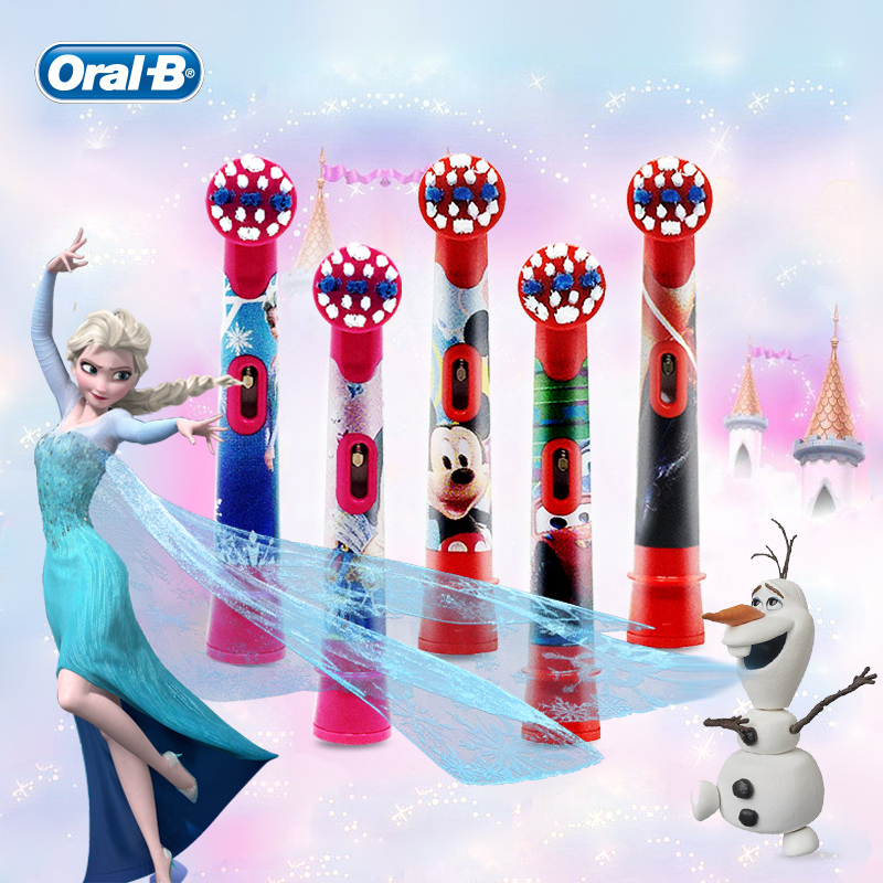 Oral B Children Electric Toothbrush Heads Frozen Utral Soft Tooth Brush Heads Round Brush Heads 4 hedas for 3+ Kids image