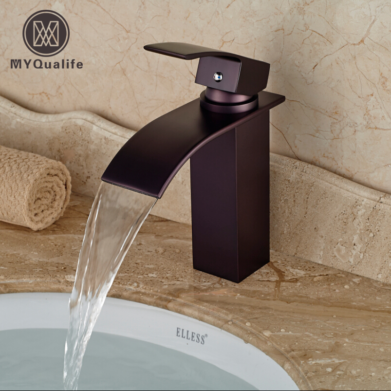 Oil Rubbed Bronze Waterfall Spout Bathroom Vessel Sink Faucet Deck Mount Single Hole Sanitary Mixer Taps automatic touchless sensor waterfall bathroom sink vessel faucet oil rubbed bronze