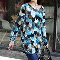 Largo-manga Del O-cuello de la cachemira suéter vestido de gran tamaño de impresión de dibujos animados ocasional 2016 nueva moda delgada jerseys tops