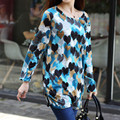 Long-sleeve O-neck cashmere sweater large size casual cartoon print dress 2016 new thin fashion pullovers tops