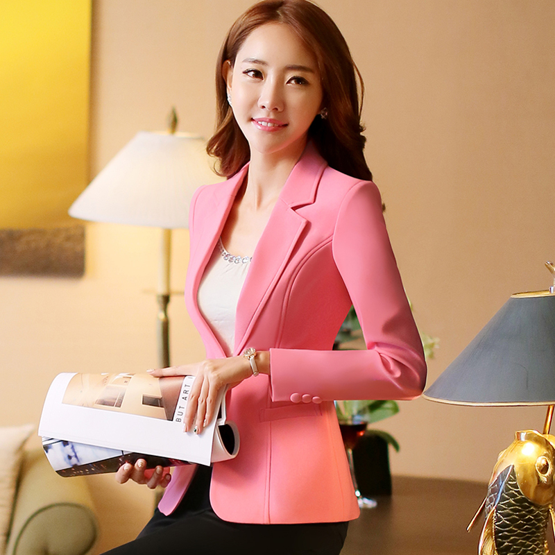Lenshin New Fashion Women White Blazer Jacket Candy Coat Jackets Single Button Outerwear Woman Tops Female