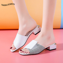 2019 New Women Summer High Quality Square High Heels Pumps Genuine Leather Shoes Woman Sandals Open Toe Ladies Slippers artdiya summer original new square toe slippers low heels retro genuine leather sandals buckle peep toe women slippers 7552