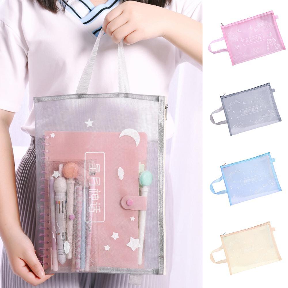 X0002 Sleek Minimalist A4 File Bag Grid Transparent Portable Zipper Bag Student Office Durable Storage Bag Pencil Bag