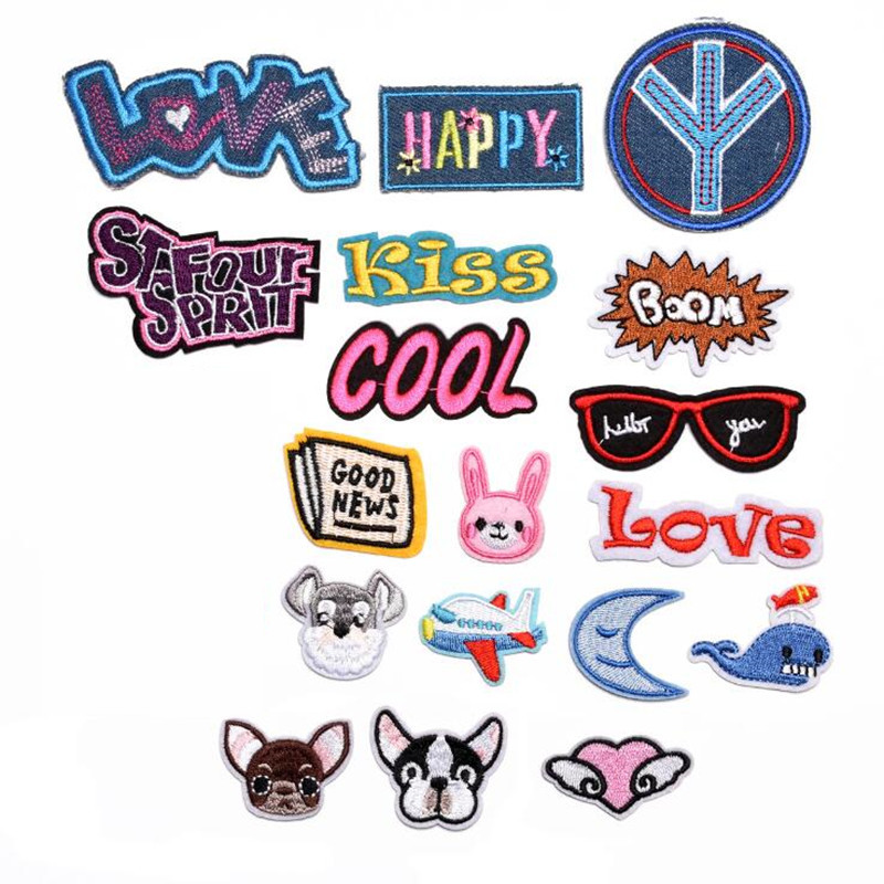 Cartoon Letters Peace Repair Badge Patch Embroidered Patches For Clothing Iron On Close Shoes Bags Badges Embroidery DIY