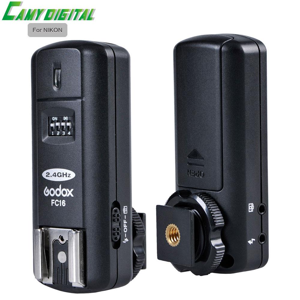Godox 2.4G Wireless Studio Flash/Speedlite Flash/shutter release 3in1 Trigger FC-16 For Nikon Transmitter+Receiver Kit