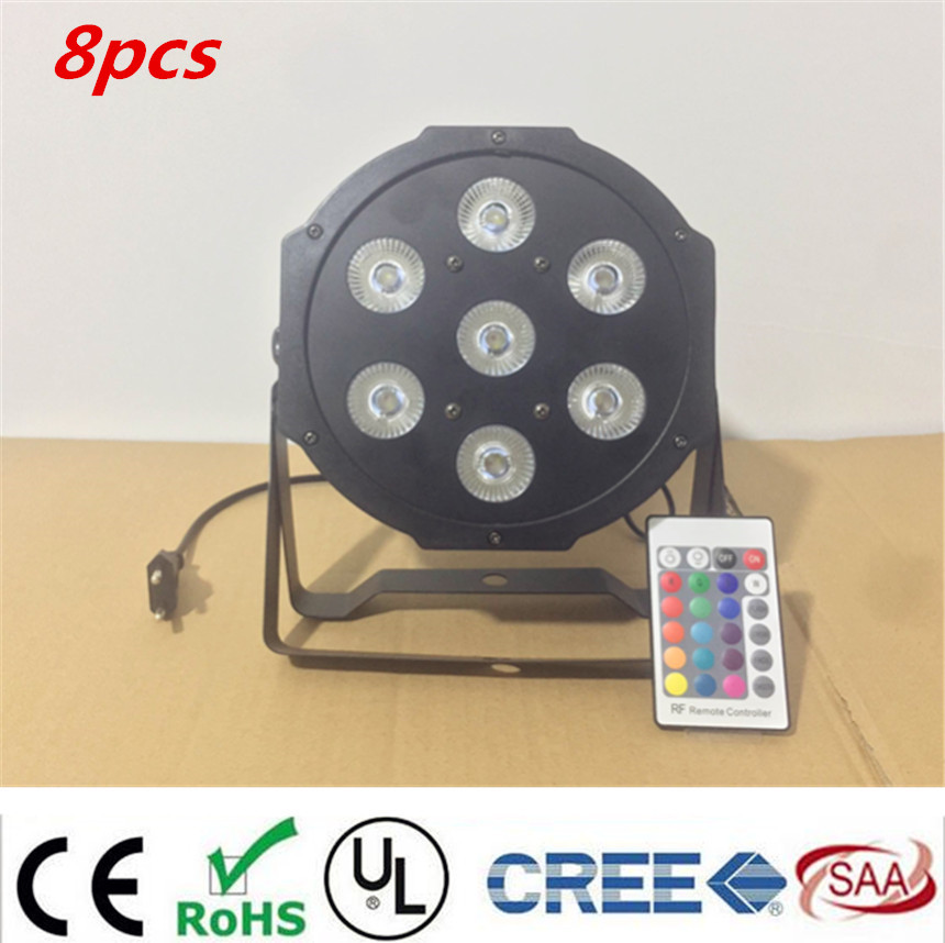 Commercial Lighting Obedient 8pcs/lot Wireless Remote Control 7x12w Dj Mega Quad Par Profile Bright Stage Led Wash Light Rgbw Color Mixing With Traditional Methods Stage Lighting Effect