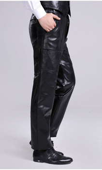 31-44 Large size men sheepskin lederhosen male genuine leather pants plus size motorcycle leather pants