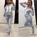 Women Letter Printed Track Suit Sportswear Casual Sweatshirt 2 Piece Sets Moletom Hoodies Svitshot Women Suits