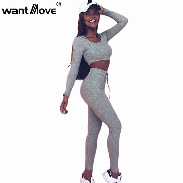 US $18.86 |Wantmove 2 stück set frauen anzug für fitness outfit zwei stück crop top legging set hoodie mit kapuze sweatshirt jogginghose set WM018 in