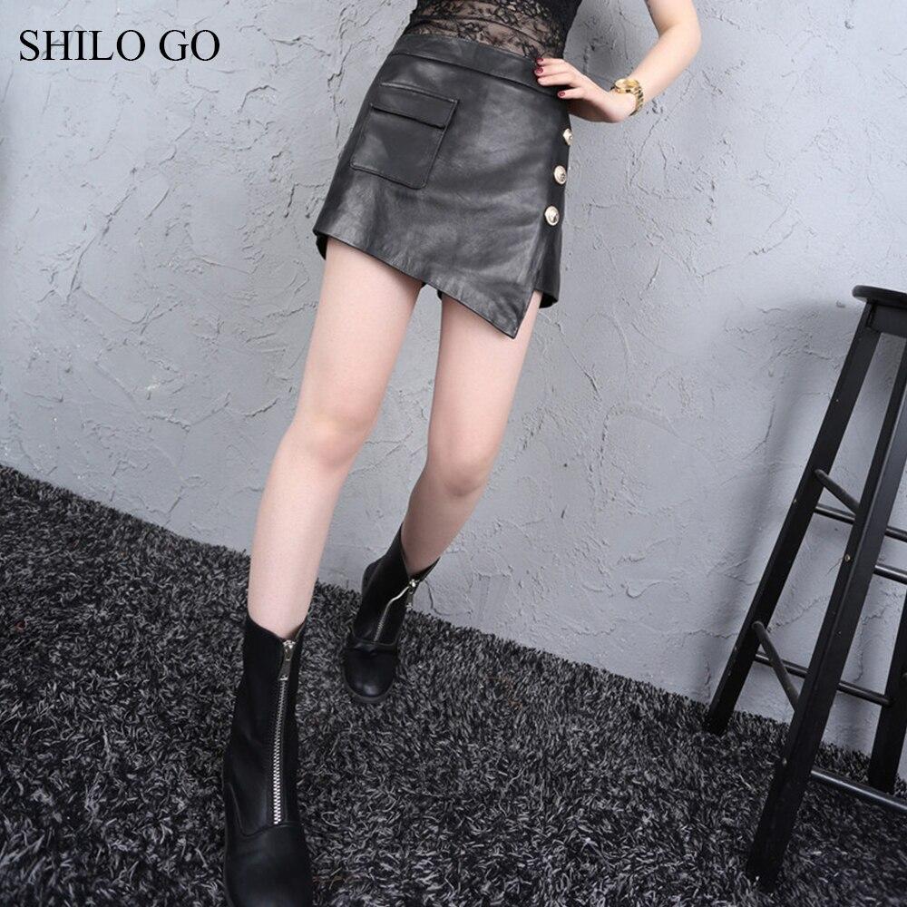 Shilo Mouton Véritable Mode Aller Taille Cuir Haute Shorts Printemps Jupes Asymétrique Short Peau En Angleterre D'été De r0rvnxzqdw