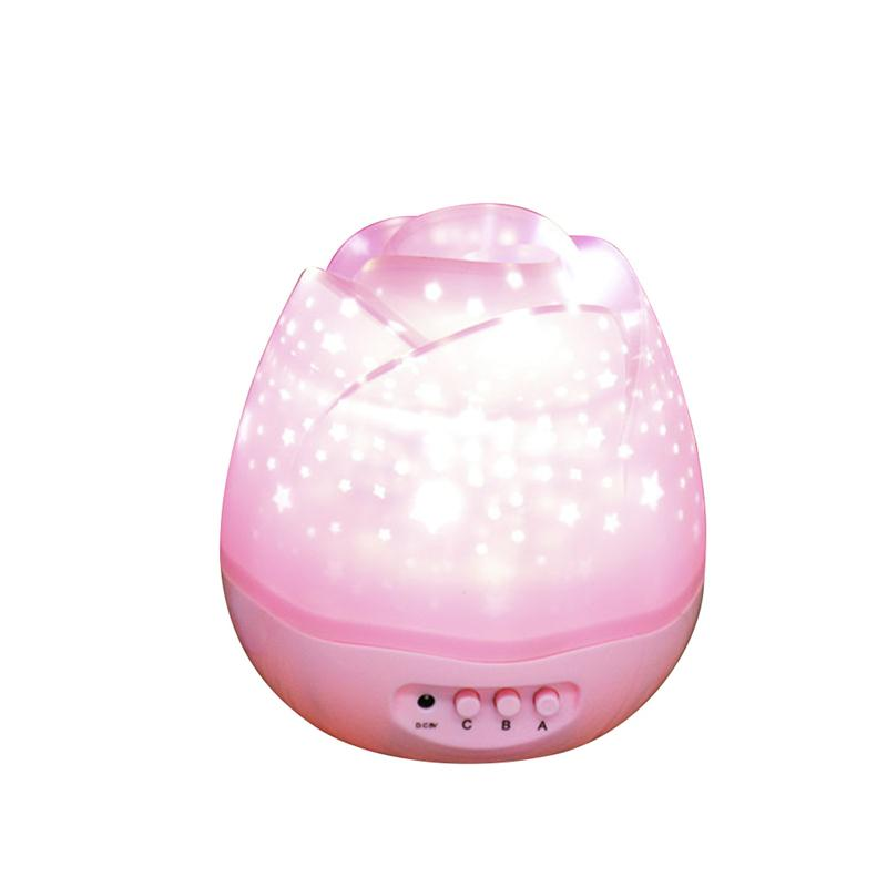 LED Night Light Sky Moon & Star Projector Light Lamp Romantic Rotating Projector Lamp for Baby Kids Bedroom Decoration (Pink)