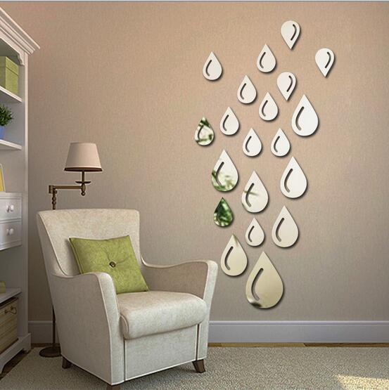 (13cm/9.5cm/6.5cm) Mirror Wall Stickers droplets raindrops Amazon Ebay  AliExpress payment 3D DIY acrylic mirror stickers LM1013-in Wall Stickers  from Home ...