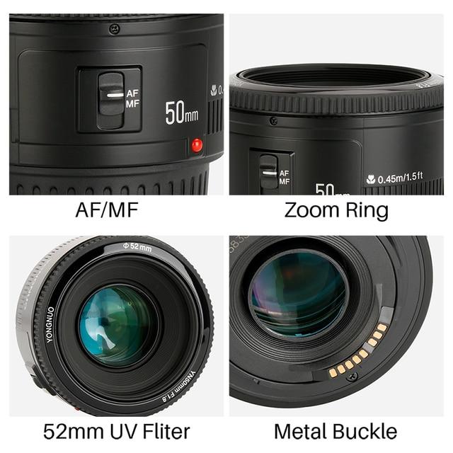 YONGNUO YN50mm F1.8 Lens EF 50mm for Canon Large Aperture Auto Focus Lenses For DSLR Camera 700D 750D 800D 5D Mark II IV 10D 4