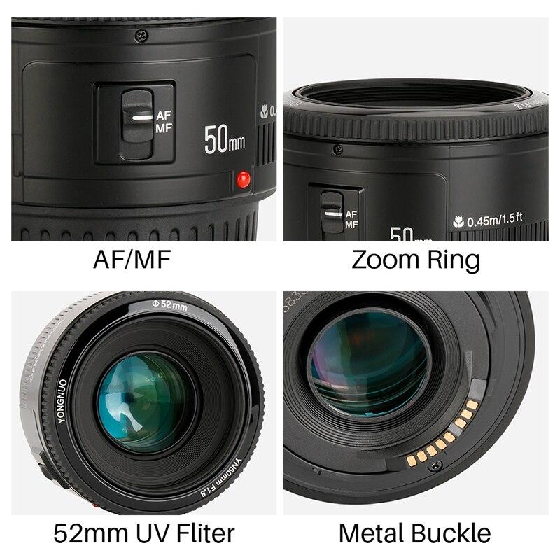 YONGNUO YN50mm YN50 F1.8 EF EOS 50 MM AF objectif de caméra MF pour Canon rebelle T6 EOS 700D 750D 800D 5D Mark II IV 10D 1300D - 5
