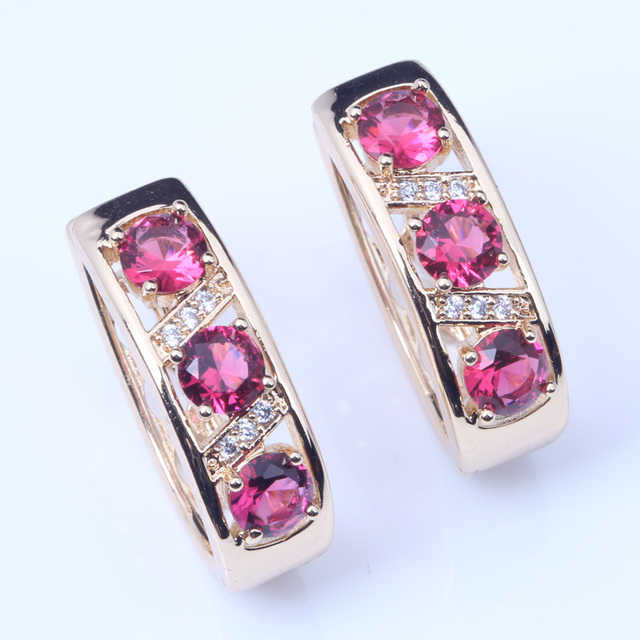 Shiny Rose Pink Crystal Cz Hoop Earrings For Women Gold Colour Fashion Jewelry E242