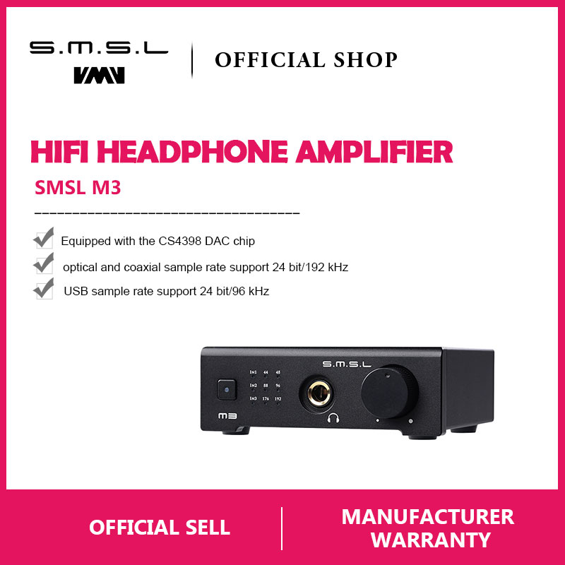 SMSL M3 USB DAC AMP Multi function Optical Coaxial Headphone Amplifier Portable USB Powered Audio Decoder Portable DAC Converter-in Headphone Amplifier from Consumer Electronics