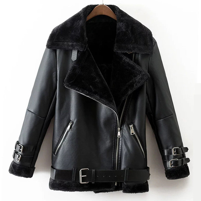 Faux Leather Suede Coat Aviator Black Leather Jacket Winter Warm