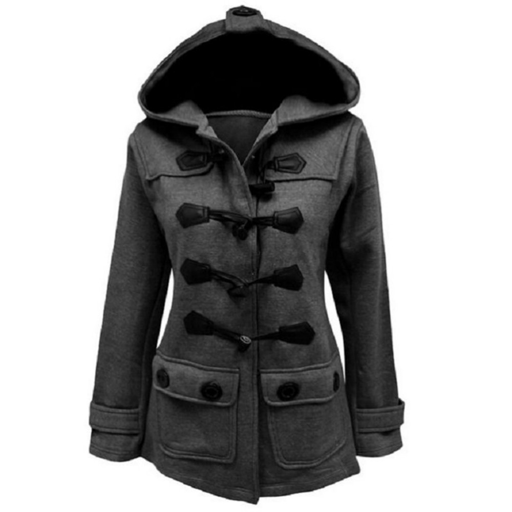 Autumn and winter new Slim Hooded fashion casual black gray Coats horn button solid long sleeve long   Trench