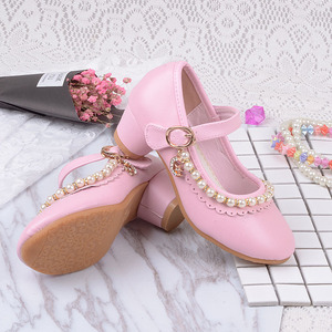 Image 2 - 2019 childrens white Beaded leather shoes little girls kids dress party wedding school prinses shoes big girls high heel shoes