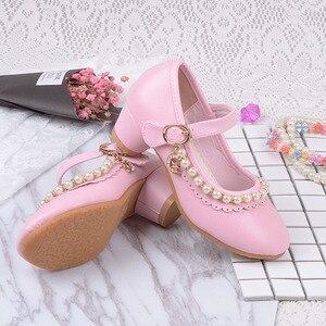 Image 2 - 2019 детские белые кожаные туфли с бусинами для маленьких девочек, детские вечерние свадебные школьные туфли с принтом, обувь на высоком каблуке для больших девочек