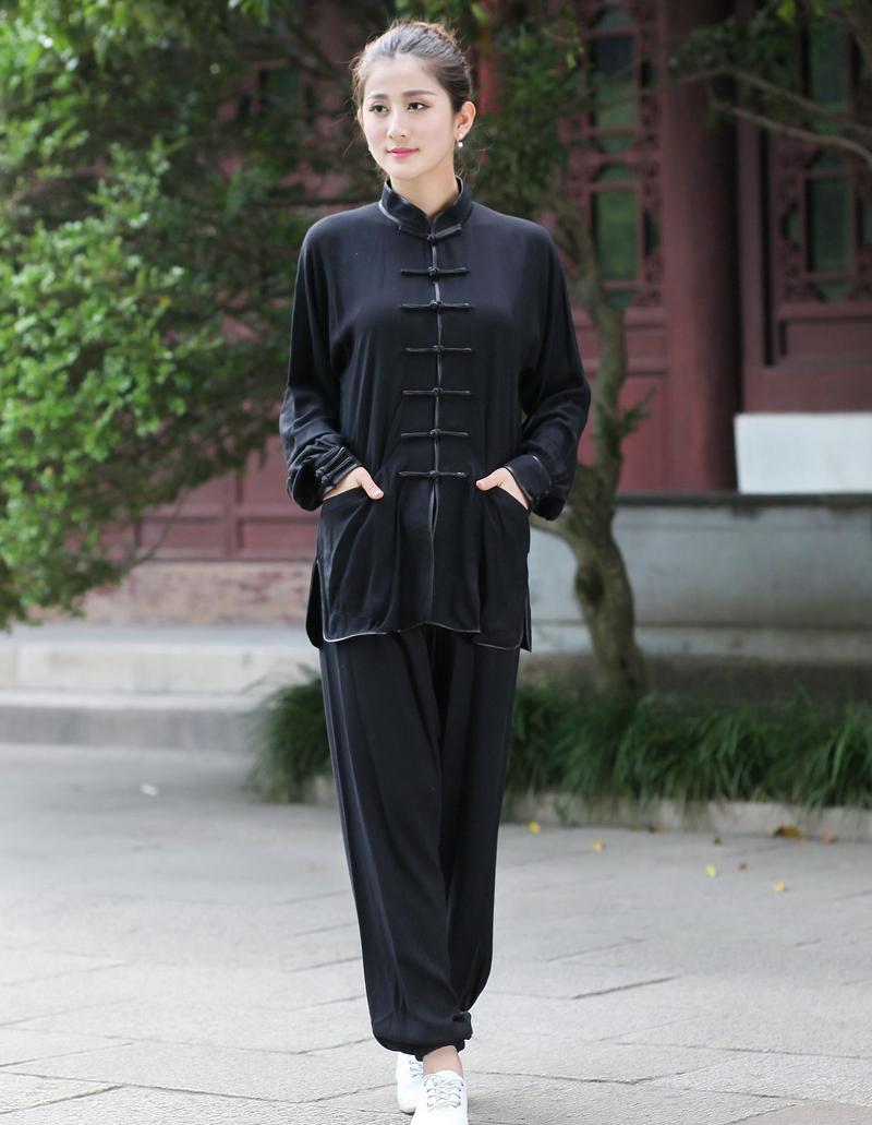 High Quality Black Chinese Women's Cotton Kung Fu Tai Chi Suit Traditional  Clothing Size XXS XS S M L XL XXL XXXL