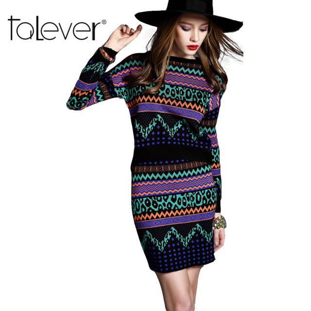 2016 Nova Malha da Longo-luva Camisola Saia Ternos Inverno Quente Crochet Knit Top Colheita Impressão Lápis Bainha da Saia de Mulheres das 2 pcs Conjuntos