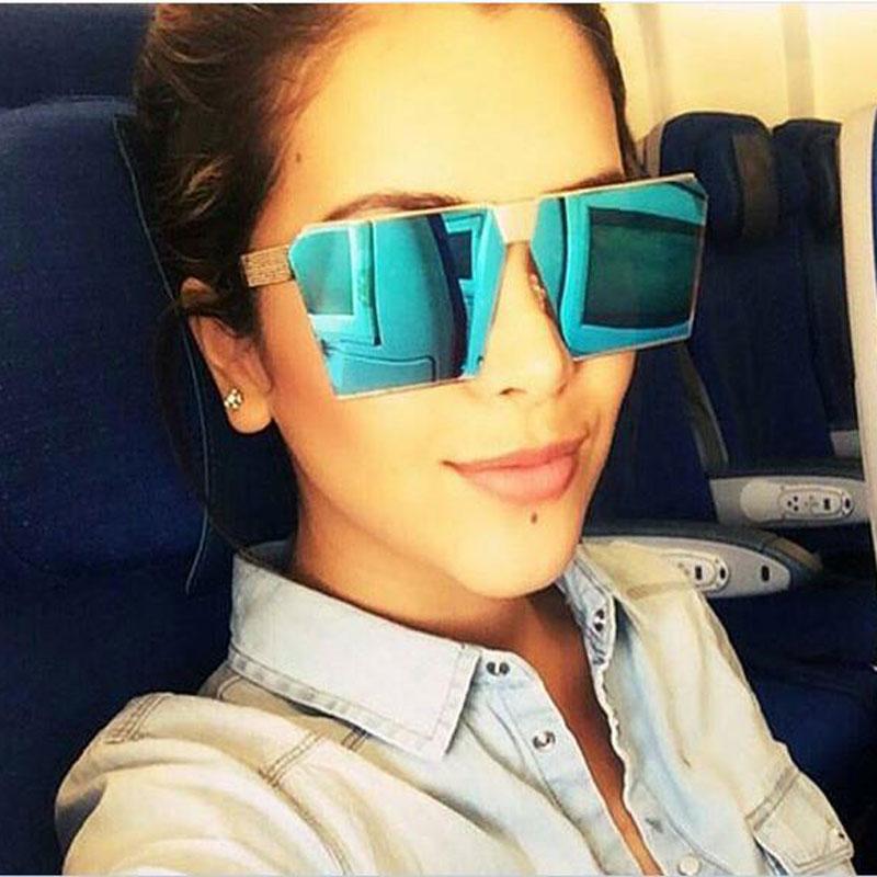 Summer Fashion oversized sunglass Brand Designer Square Flat Top Sun Glasses Mirror Women Sunglasses Men Eyeglasses Hip Hop