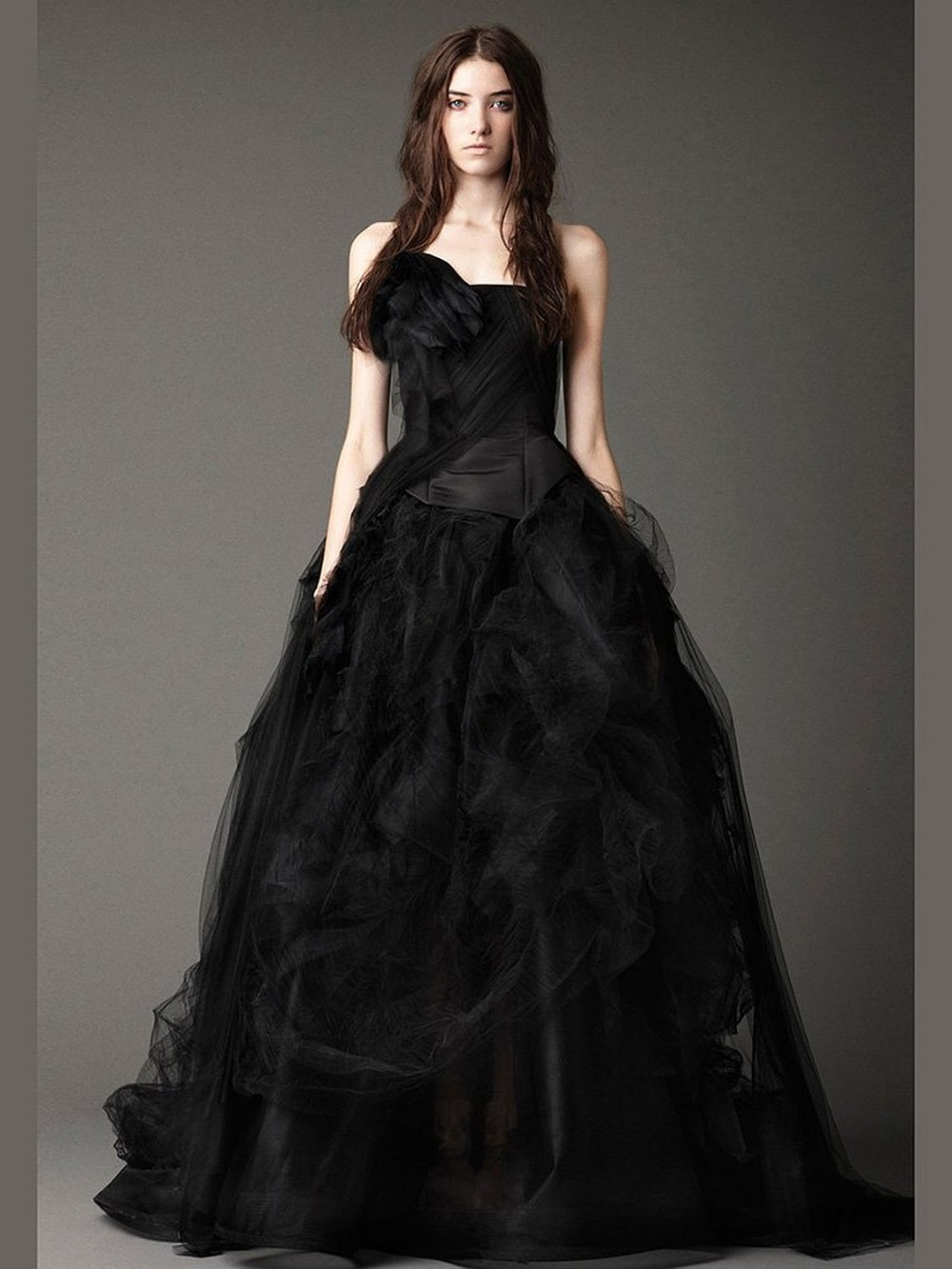 Gothic Wedding Shop - Special halloween long tulle backless strapless puffy boho bridal gowns black victorian gothic wedding dresses robe de mariage