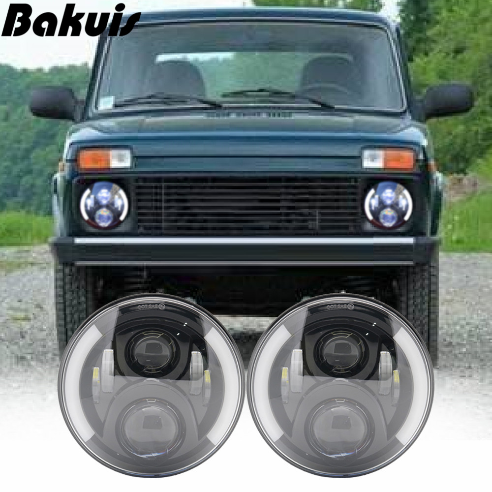 2X 7 Inch Round LED Headlights Projection Headlight Kit for Jeep Wrangler JK TJ LJ lada