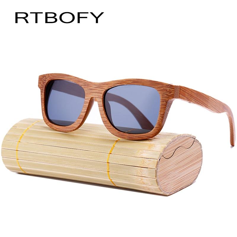 RTBOFY Nueva Moda 100% Hecho a mano Bambú Retro Gafas de sol de madera Mujeres y hombres Cute Design Gafas de sol cool Gafas de sol. ZA03