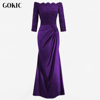 GOKIC Women Long Party Dress 2017 Autumn Elegant Purple Femme Wedding Robe Vintage Lace Bodycon Dresses