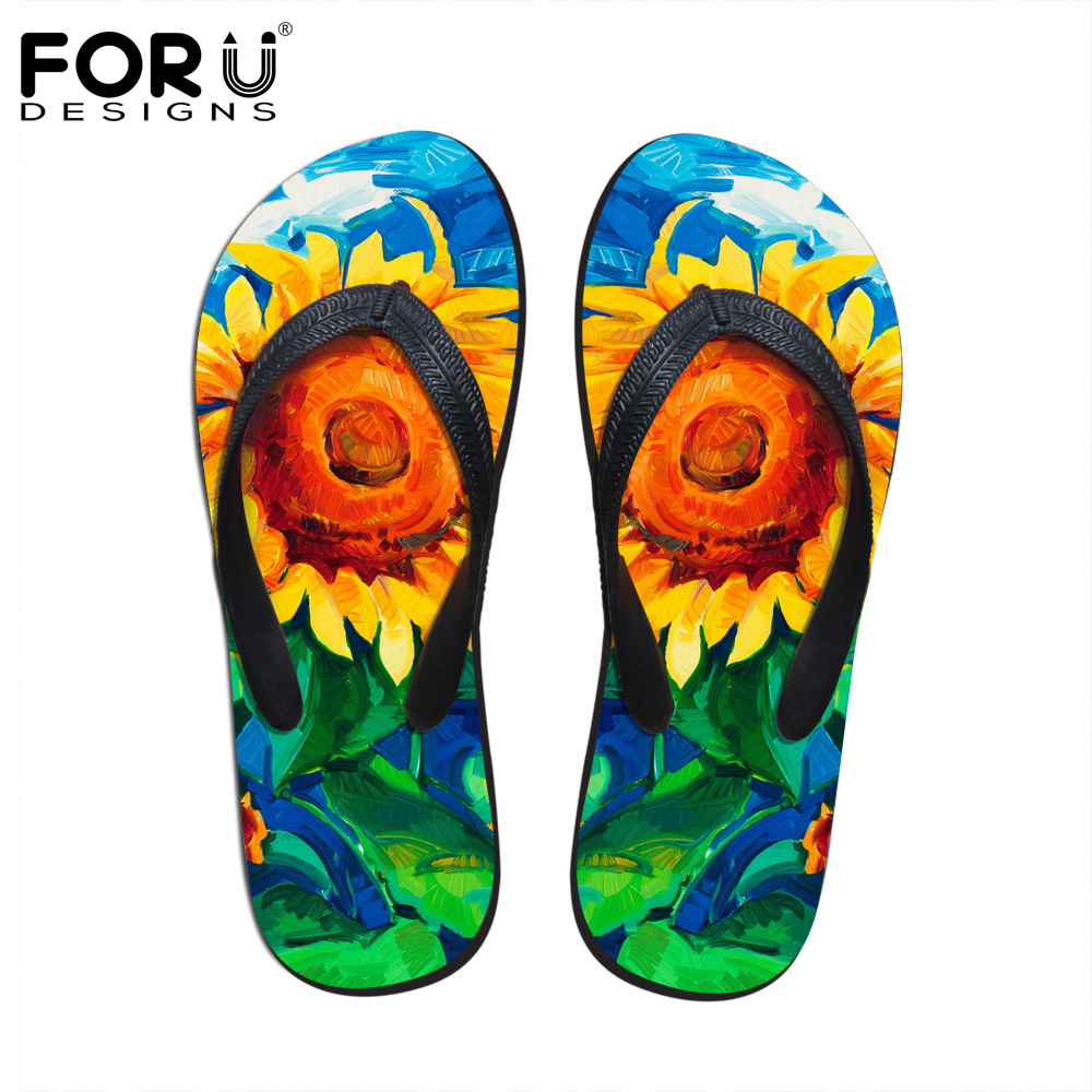 5ac9a5dfefb83 FORUDESIGNS Women Summer Slippers Fashion Floral Painting Printed Flip Flops  for Woman Fenamel Beach Rubber Sandals Flat Shoes