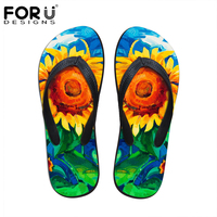 FORUDESIGNS Women Summer Slippers Fashion Floral Painting Printed Flip Flops for Woman Fenamel Beach Rubber Sandals Flat Shoes