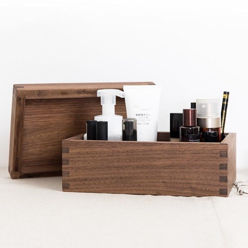 Black walnut solid wood lid with desktop storage storage box wooden jewelry storage box storage finishing