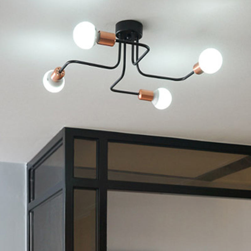 4 heads pipe ceiling lamps simple modern living room balcony lamp hanging bedroom lighting creative personality Restaurant vintage ceiling lamps american style copper lamps ceiling light personality simple country balcony lamp home lighting corridor