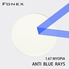 FONEX 1.56 1.61 1.67 (+ 10.00 ~ 10.00) blokujące niebieskie światło na receptę CR 39 żywiczne soczewki asferyczne okulary obiektyw krótkowzroczność prezbiopii nadwzroczność