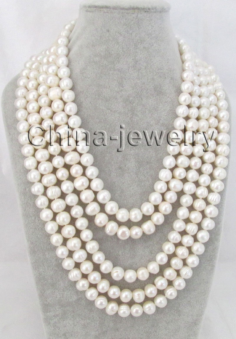 Selling Jewelry>>100 9-10mm natural white round freshwater pearl necklace Selling Jewelry>>100 9-10mm natural white round freshwater pearl necklace