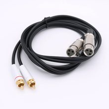 1pc 5Ft 2 XLR Female to 2 RCA Male Phono Plug Dual Mixer Stereo Pro Audio Cable 1.5m(China)