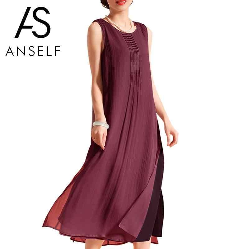 Vintage Summer Dress 2019 Wome Sleeveless O Neck Side Split Casual Loose  Midi Cotton Dresses 3XL 16763a2287f6