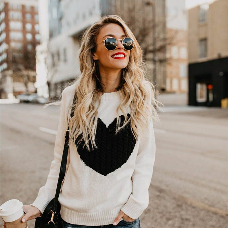 Autumn Winter Print Knitted Sweater Pullovers Women 2018 Long Sleeve Befree Warm Knitting Female Jumper Sweaters For Ladies
