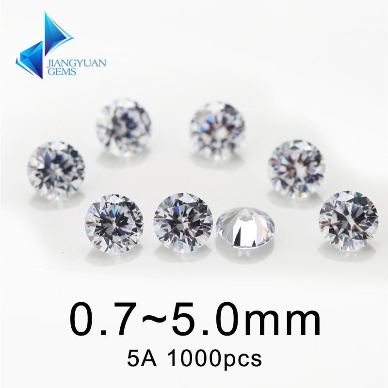 Gems Jewelry Cz-Stone Round-Cut Cubic Loose Synthetic Aaaaa-Grade for 1000pcs White-0.8--5.0mm