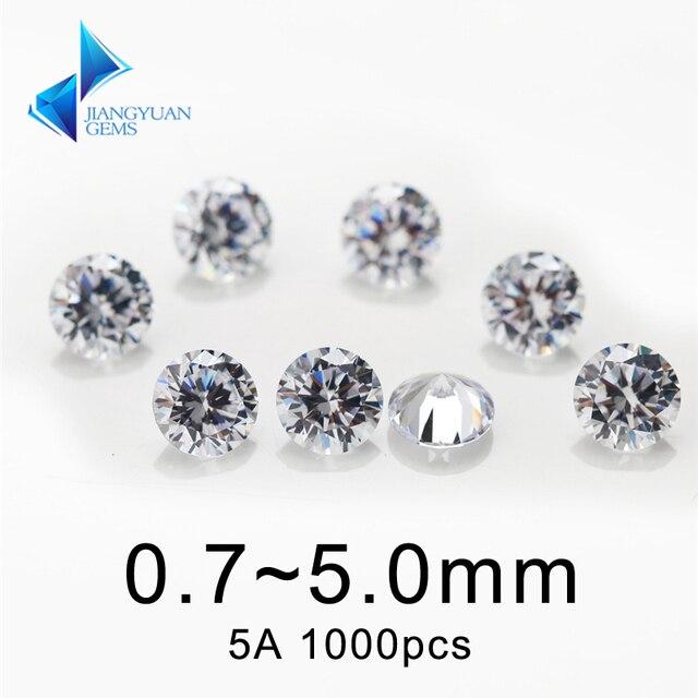 1000 pcs AAAAA Grau Branco 0.8 ~ 5.0 milímetros Cúbicos de Zircônia Pedra Corte Redondo CZ Pedra Solta Gemas Sintéticas Para jóias