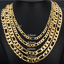 Fashion Gfit Boys Mens Chain Gold Filled Jewelry 5/6/9MM Womens FIGARO LINK Necklace Party Daily Wear DLGNM53