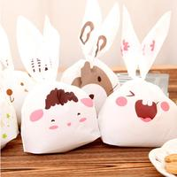 50pcs Lot Rabbit Ear Cookie Bag Plastic Packaging Biscuit Candy Gift Bags Cute Cartoon Wedding Party