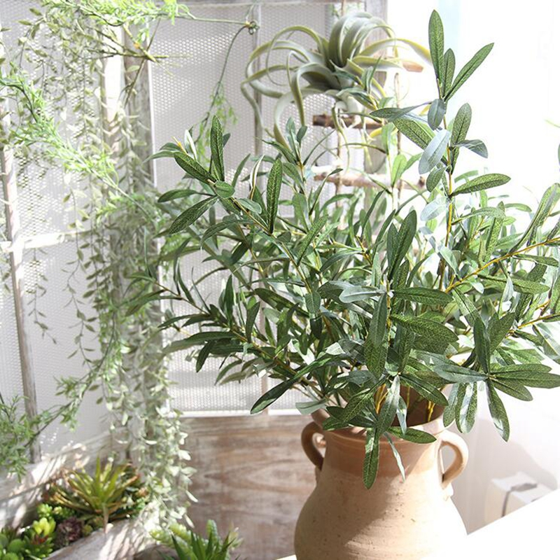 20 Pcs 103 centímetros Plantas Artificiais Galhos de Árvores de Oliva Folha Folhas de Oliveira para o Hotel e Casamento Casa Acessórios de Decoração Europeu - 5